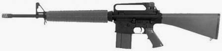 AR-10A2 is, basically, an upscale AR-15A2 rifle, chambered for the .308Winchester (7.62x51mm) cartridge. Note that the charging handle is above the buttstock, as on AR-15 / M16 rifles. The furniture is similar to the M16A2 rifle, except for the muzzle brake