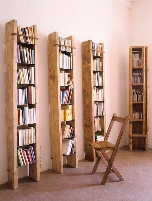 "tall bookshelves for small spaces- perfect for the old ladder I love but wasn't sure how to ""use""  :)"