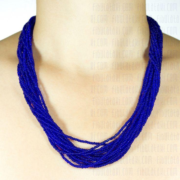Fibula Takı - Salkım Saçak Serisi / Kolye - boncuk - mavi