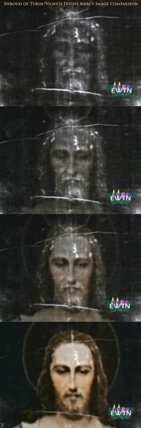 The Shroud of Turin superimposed on the Vilnius Divine Mercy image