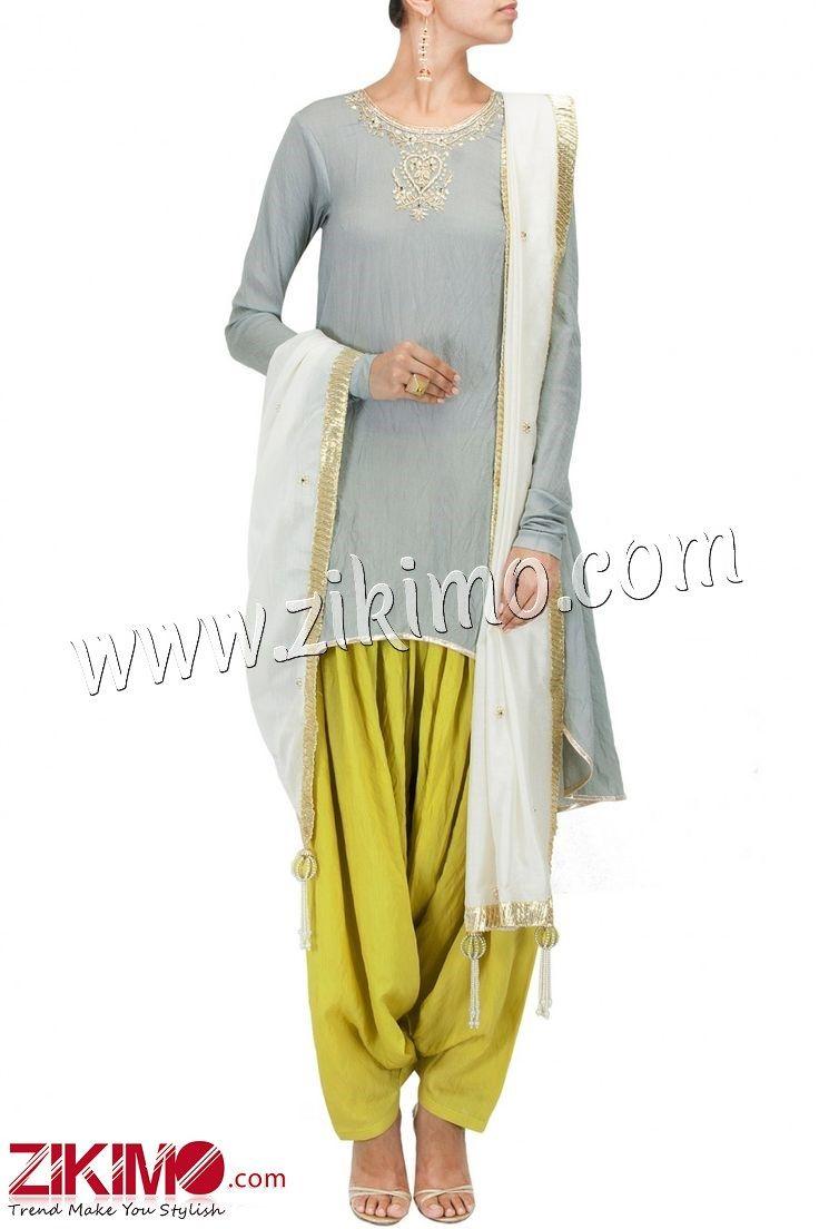 Gratifying Grey Made To Order Cotton Punjabi Salwar Suit