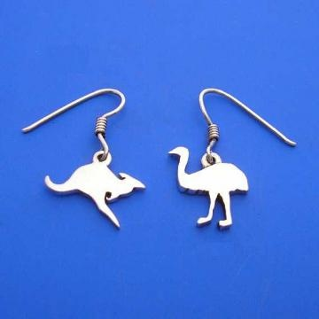 Silver Kangaroo and Emu Earrings ,  Australian Coat of Arms , Hand Made Solid Silver by ijewellery for $36.00