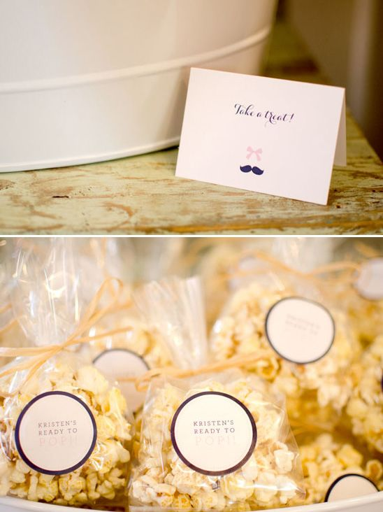 """""""Ready to Pop"""" popcorn baby shower favors. I love this just for the pun. I know the perfect person to use it for one day..."""