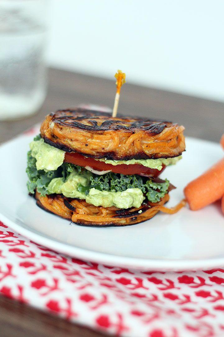 Sweet potato Sandwich Bun with Avocado-Goat Cheese Spread - no bread!!