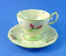 Pretty Handpainted Floral on Pale Green Bell Tea Cup and Saucer Set: