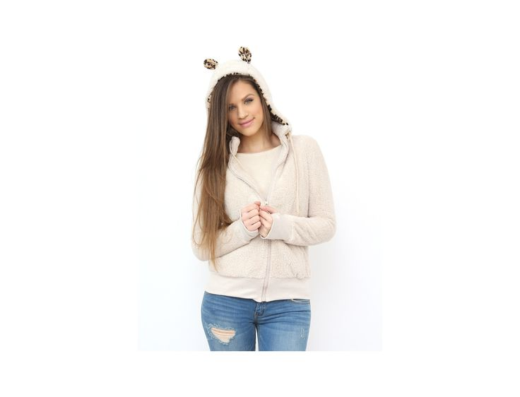 Animal Print Ears make this cardigan sooooo fun...:) Available at www.famevogue.ro...<3  #cardigan #style #fashion #winter #outfit