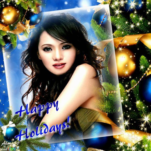 Happy holidays! Click to add your own photo to this digital frame. By the artist Alma50 on Imikimi.com. Make your own holiday card!  #imikimi #greetingcard #free #template #blue #gold