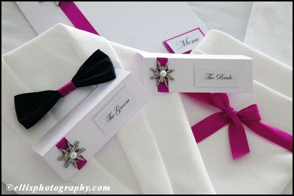 place cards and funky napkin folds
