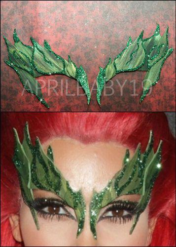 Poison Ivy Leaves Eyebrow mask costume GREEN BLEND w/ Glitter LEAF Costume ELF | eBay