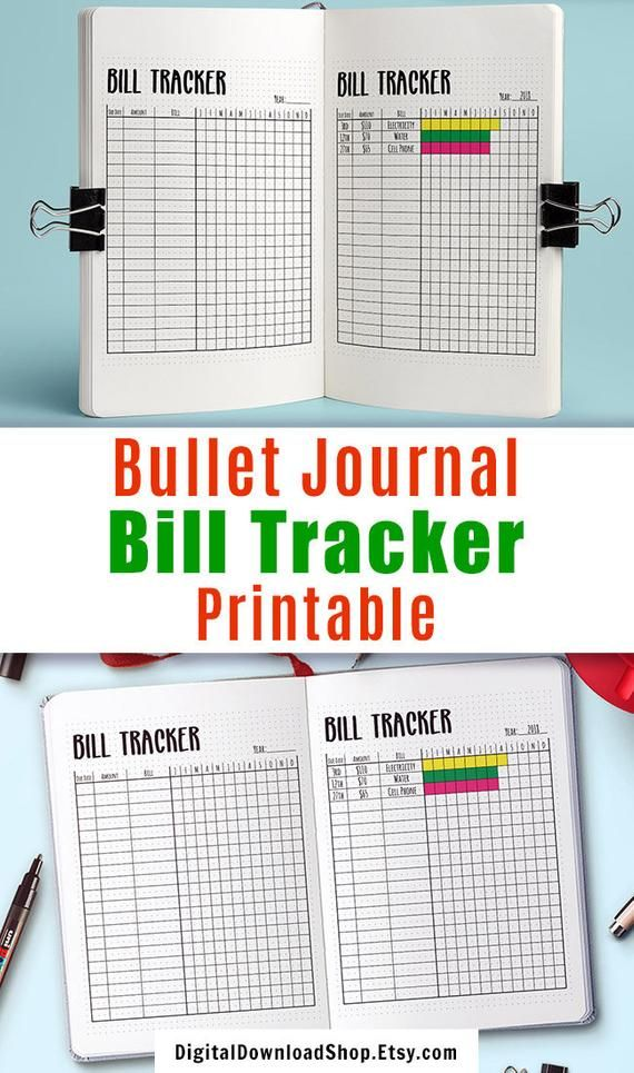 bullet journal bill tracker printable monthly bill payment tracker