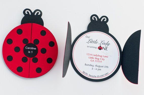 Set of 12+ Ladybug Party Invitation, Ladybug 1st Birthday Party, Ladybug Invitation