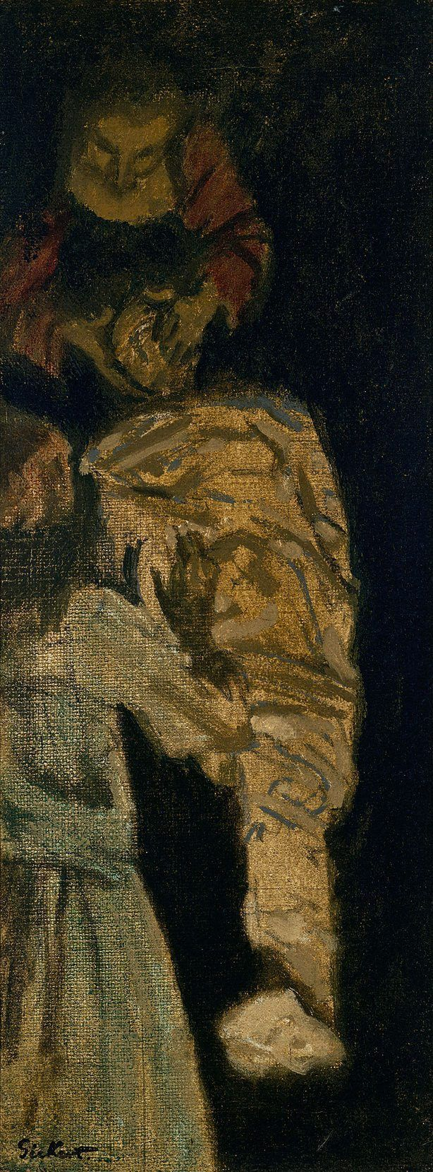Sketch for The Raising of Lazarus (1929-32) by Walter Richard Sickert. In 1929 Walter Sickert was given a life-size lay figure, alleged to have once belonged to William Hogarth, and the sight of it being delivered to his studio inspired him to paint three works based on the event which he reinterpreted as the raising of Lazarus. This is the second sketch.