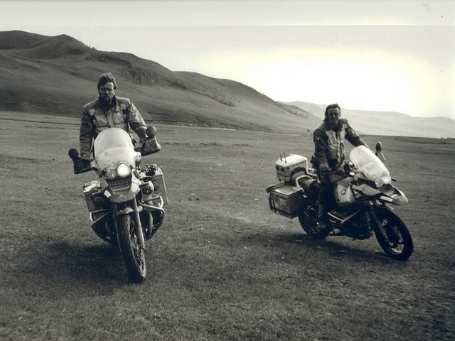 Ewan McGregor & Charley Boorman in Mongolia. From Long Way Round, their epic motorcycle journey from London to New York.