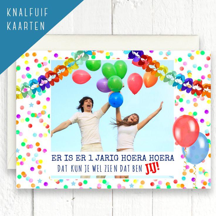Versier je eigen foto op www.Fotokaarten.nl. Je kunt zelf de slingers ophangen en ballonnen plaatsen. Proefkaart bestellen is geen probleem.