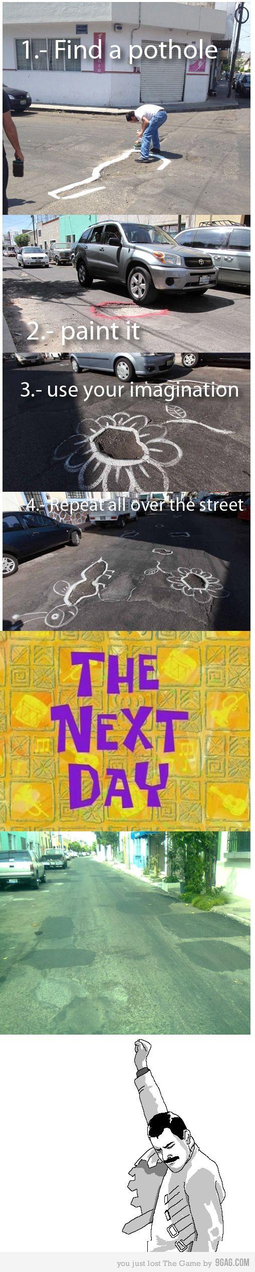 GENIUS! How to fix Potholes! Haha, click for more hilarious Car Memes! #spon #GeniusLevel