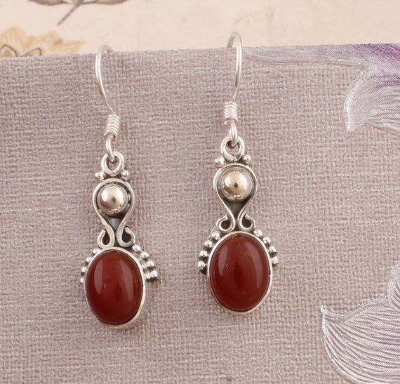 Natural Amazing Red Onyx AAA+Quality Gemstone Earring Cabochon Stone Boho Earring 925-Antique Silver Earring,Wedding Earring Gift For Her