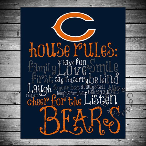 Chicago Bears / House Rules / Chicago / Football / Gift For Him / Gift /  Print / Printable / Home Decor / Wall Decor / Wall Art / Man Cave