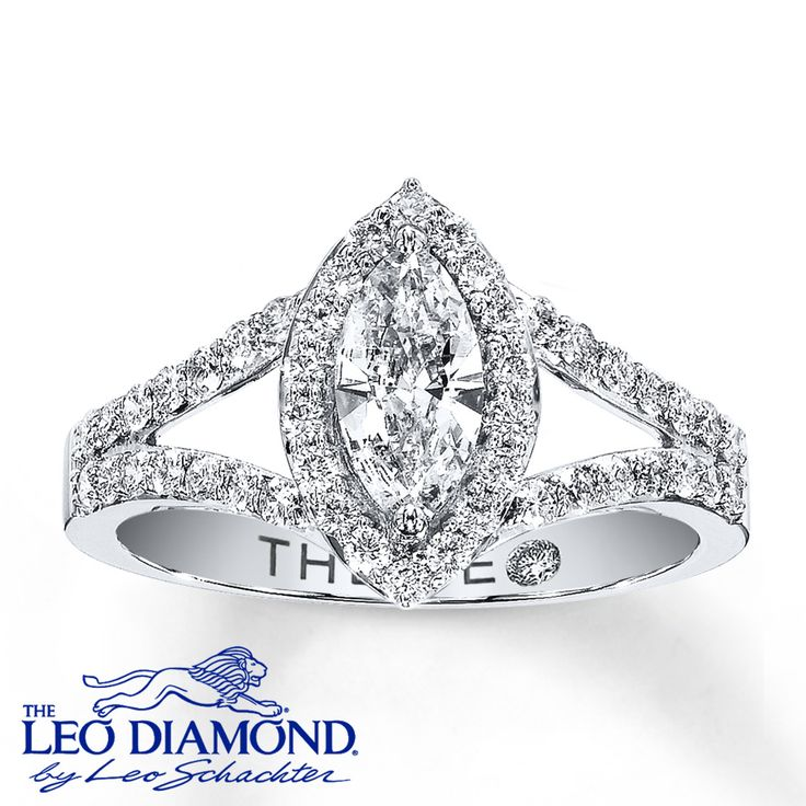 Framed in round diamonds, a marquise Leo Diamond delivers exceptional brilliance to this breathtaking ring for her. Additional round Leo diamonds in two rows line the 14K white gold band to complete the look. The center diamond is independently certified and laser-inscribed with a unique Gemscribe® serial number. This lovely diamond ring has a total diamond weight of 1 carat. Available online while supplies last. Diamond Total Carat Weight may range from .95 - 1.11 carats.