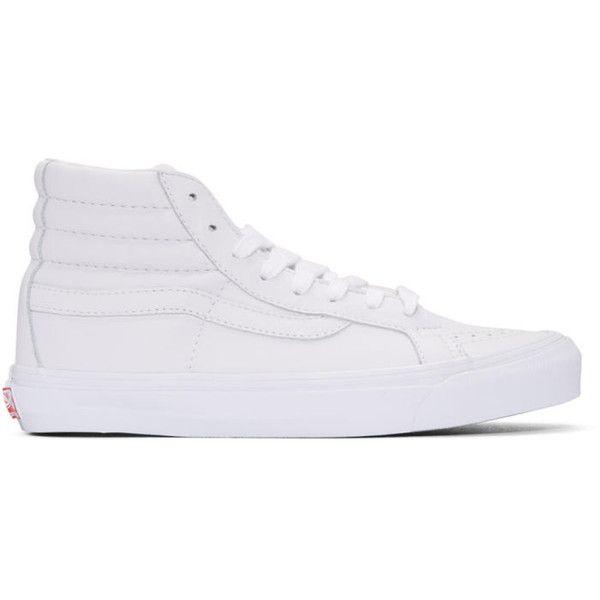 Vans White OG Sk8-Hi LX Sneakers ($110) ❤ liked on Polyvore featuring men's fashion, men's shoes, men's sneakers, vlt white, mens high top shoes, mens white high top shoes, mens leather high top shoes, mens high top sneakers and mens leather lace up shoes