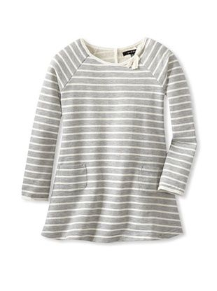 62% OFF Gil & Jas Girl's Striped Dress with Pockets (Light Grey Heather)