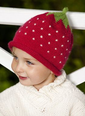 Strikkeopskrift: Strawberry hat. Free pattern in Danish (Jordbærhue). 2-8 years