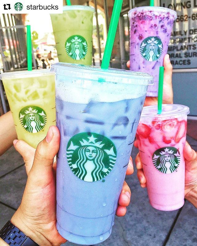 #Repost @starbucks with @repostapp ・・・ You know what they say, there's always a Starbucks at the end of the rainbow.   #OrangeDrink: Orange mango juice with vanilla bean powder and a splash of coconut milk.  #BlueDrink: Iced Passion Tango Tea with no water, sub soy milk and vanilla syrup.  #GreenDrink: Iced Black Tea with no water, sub coconut milk and matcha.  #PinkDrink: Strawberry Acai Starbucks Refreshers with no water, sub coconut milk.  #PurpleDrink: Iced Passion Tango Tea w...