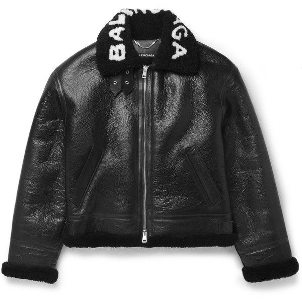 Balenciaga Printed Shearling Bomber Jacket ($4,500) ❤ liked on Polyvore featuring men's fashion, men's clothing, men's outerwear, men's jackets, mens shearling aviator jacket, mens shearling bomber jacket, men's sherpa lined jacket, mens shearling jacket and mens fur lined bomber jacket