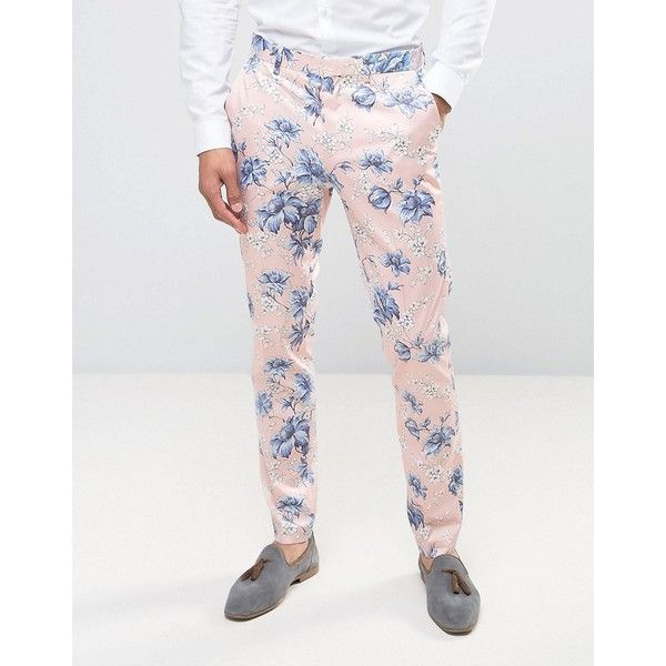 ASOS WEDDING Skinny Smart Trousers in in Blush Floral Print ($60) ❤ liked on Polyvore featuring men's fashion, men's clothing, men's pants, men's casual pants, pink, mens skinny fit dress pants, mens polyester pants, mens tall pants, mens zip off pants and mens zipper pants