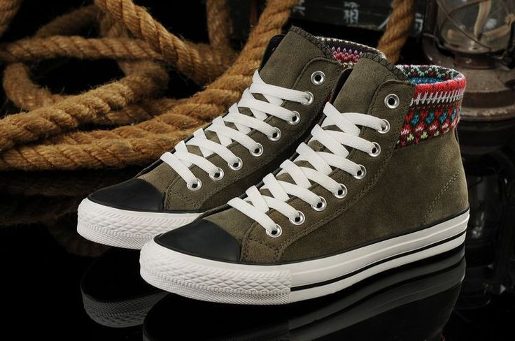 Converse all star Etnische hoge top winter legergroen schoenen