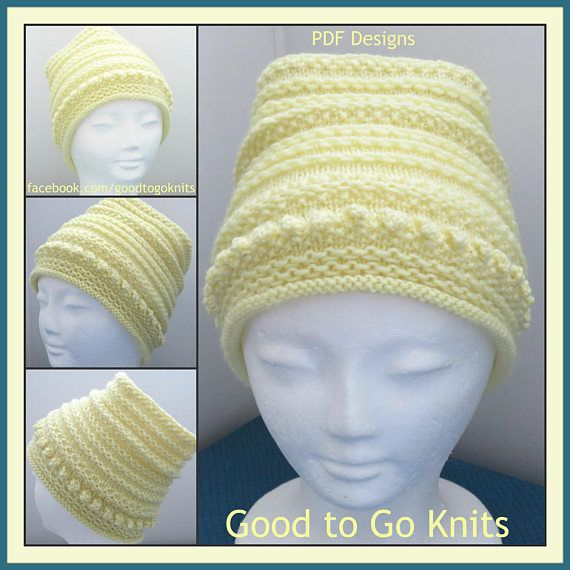 Knitting Pattern  Slouch Hat  PDF Download