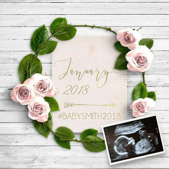 Social media modern pregnancy announcement template.