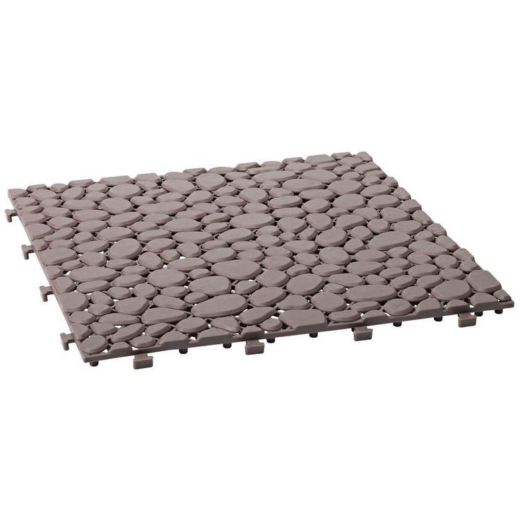 Stenimiterande golvplattor som är tillverkade av slagtålig PE-plast och täcker totalt 0,81m². De tål temperaturer ner till -25°C, är UV-skyddade, levereras färdigmonterade och går att såga till med sticksåg/handsåg.