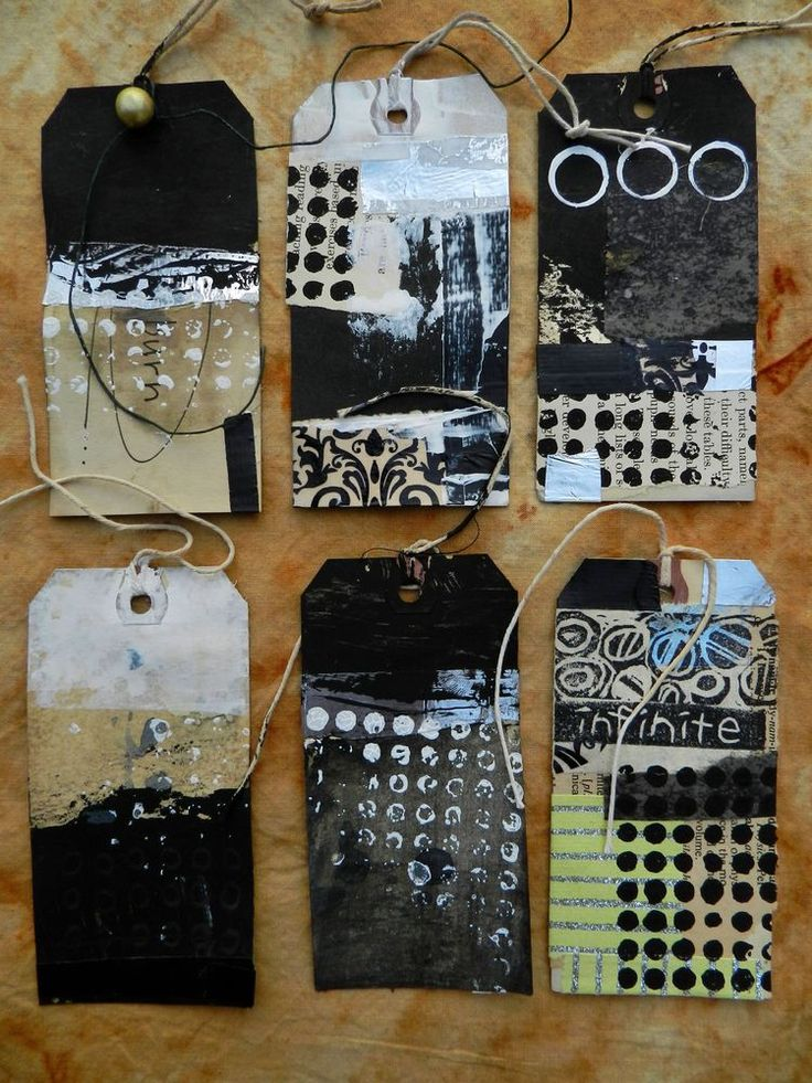 little art /gift tag ART on collected items - rubbish, reciepts