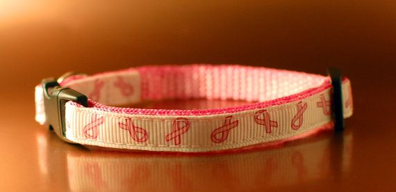 Cat Collar  Breast Cancer Awareness  20 to Cancer by PoppySeedCats. 20% of the price of this collar will go to Cancer Research UK