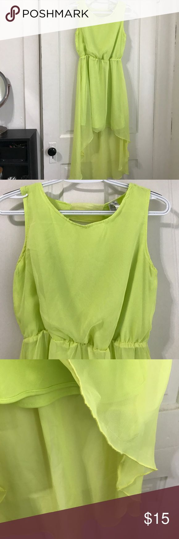 Lime green dress Great condition! Looks amazing with a tan! Grace Dresses High Low