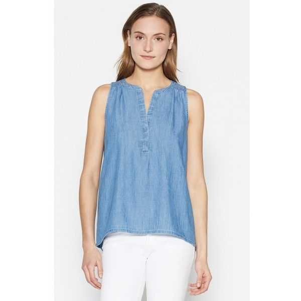 Joie Carley E Top ($118) ❤ liked on Polyvore featuring tops, blouses, indigo, v neck blouse, blue top, joie tops, joie blouse and smock top