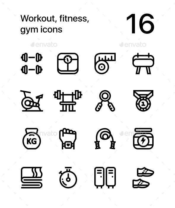 Workout, Fitness, Gym Icons for Web and App