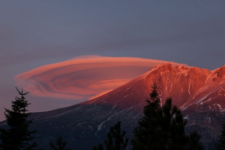 Closeup of Lenticualr at sunset over the peak of Mt. Shasta by ...