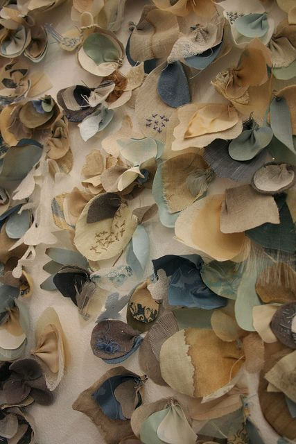 Textiles Surface Design - dyed fabric petals, layered & embroidered - colour, stitch & texture; textile art // Ruth Singer & Jan Garside