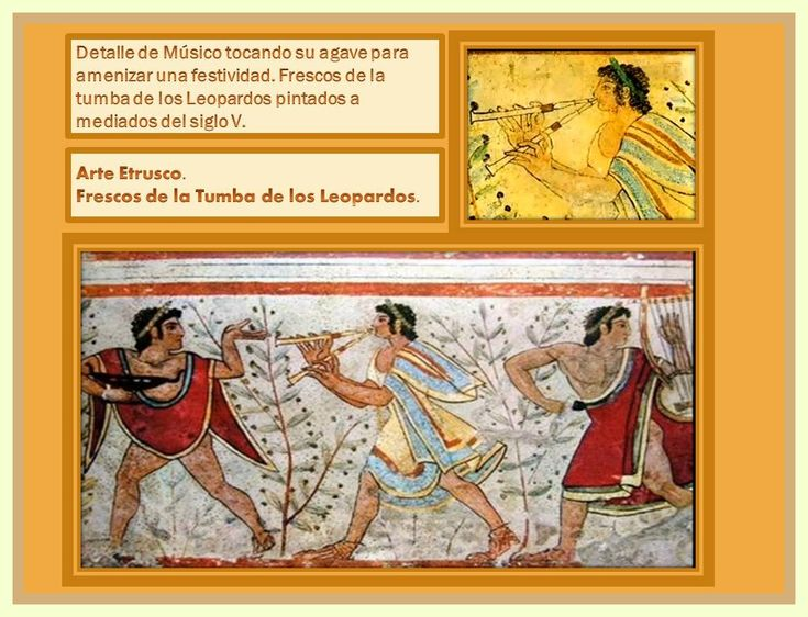 """TUMBA DE LOS LEOPARDOS  (Frescos de la tumba de los Leopardos con musico tocando doble agave).  Los documentos iconográficos más relevantes, son los frescos de la Tumba de los Leopardos, donde, en una especie de symposion funerario, un subulo etrusco, ataviado con ropajes típicamente griegos, aparece dando grandes zancadas (según se observa en la pintura) delante de un supuesto poeta-cantor que porta un barbitón, un tipo de lira, de 6 ó quizá 7 cuerdas. Otra lira chelus (""""tortuga"""") más…"""