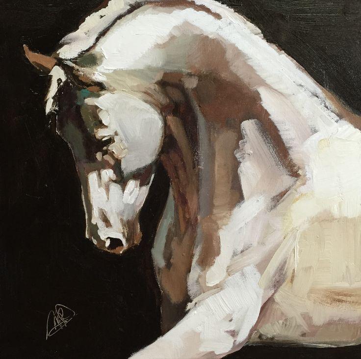 14x14 Cremello Stallion acrylic on canvas PeggyJudy.com