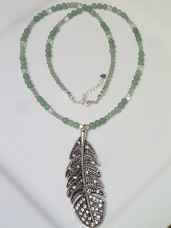Clear Quartz and Green Aventurine necklace with by MystiqueCrystal, $32.00