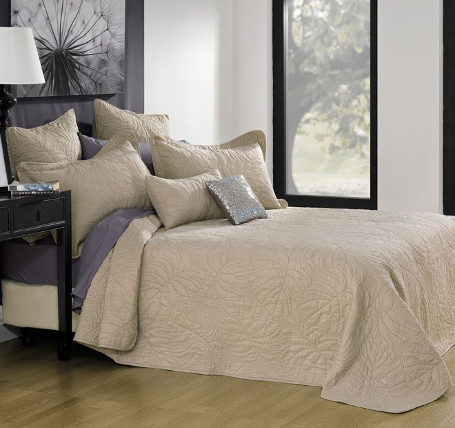 Pretoria Taupe - Polyester cover, Cotton fill, Beautifully detailed light weight bedspread set, Embroidered leaves in a subtle tone, Wash separately before use, Wash dark colours separately, Cold, gentle machine wash, Line dry, Do not tumble dry, Cool iron on reverse if desired, Do not wring, bleach or dry clean - #bedspreads
