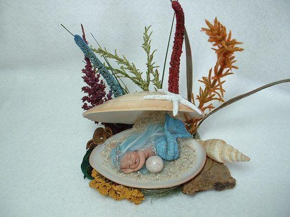 Custom OOAK Hand Sculpted Miniature Mermaid Baby  by LaurieAnnGray, $40.00