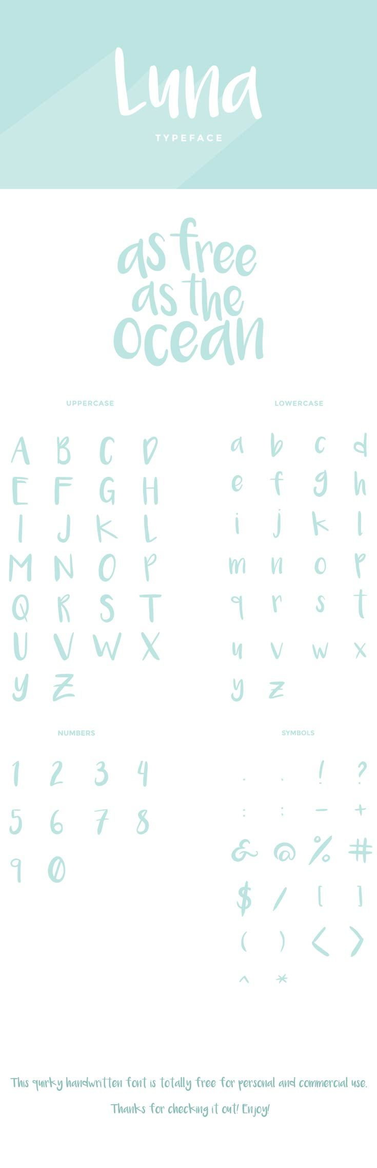 Free Luna Brush #Font from Amanda Leeson, Luna is a Sweet Font, you can use it as a logo, badge, insignia, packaging, headline, poster, t-shirt etc. via @creativetacos