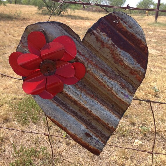 Rusty tin heart with red flower by RustinRose on Etsy, $12.00