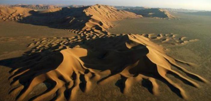 Bizarre River of Sand and Hail Happens Desert