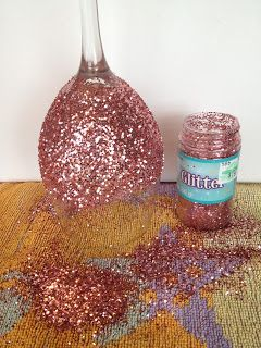 "My Simple Obsessions: DIY Glitter Wine Glasses ""I made these for my bridesmaids, it works best with extra fine glitter and coating the glitter compleltly afterwards (it took me two coats.)"""