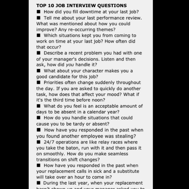 Top Ten Job Interview Questions Good To Know! Job