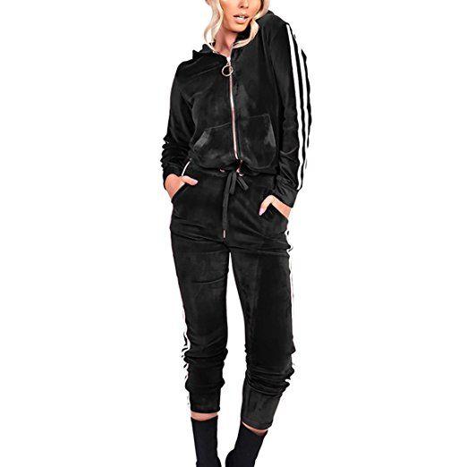 lässige Schuhe Super Rabatt klassische Stile Damen Samt Jogginganzug Sportanzug Traininganzug Hoodie ...